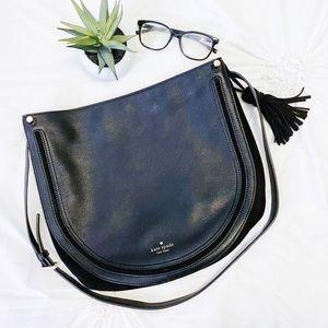 KATE SPADE Black Leather Shoulder Bag Tassel Suede